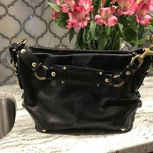 ❤️Coach blk satchel bag soft leather gold hardware